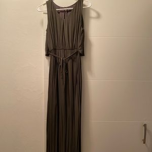 Zara Basic - maxi sheer column dress dark green